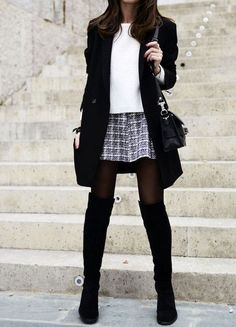 Styling tips / black coat skirt over the knee boots