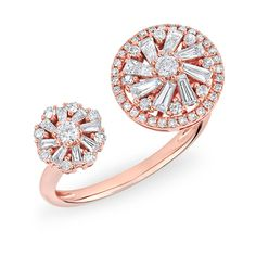 Anne Sisteron  14KT Rose Gold Diamond Baguette Paris Ring (4 590 BGN) ❤ liked on Polyvore featuring jewelry, rings, rose, baguette diamond ring, red gold ring, rose gold diamond jewelry, rose diamond ring and diamond jewelry