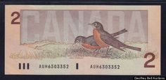 Vintage 2 dollar Canadian Currency, now especially with these numbers AUG are worth a lot more than 2 bucks.