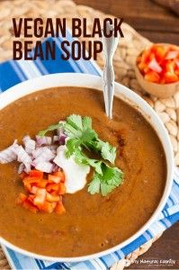 Vegan Black Bean Soup Recipe - made from scratch and rich with smoky flavor.