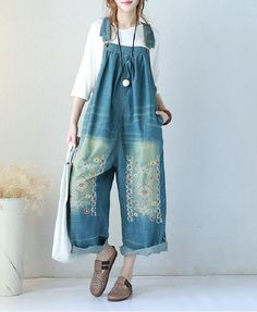 Chinese Folk Embroidered Overalls Denim Wide Leg Jumpsuits    #rompers #jumpsuits #denim #embroidered #amazing #plussize #maternity #mother #mom