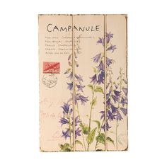 Wilco Imports Floral Periwinkle Blue Campanule Wooden Wall Plaque ** Awesome product. Click the image : Home Decor Plaques