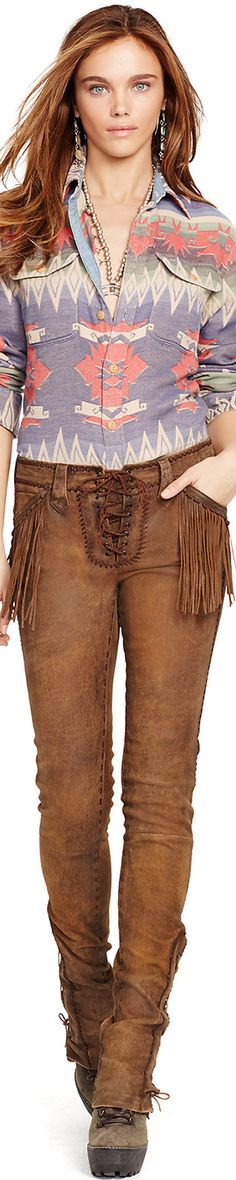 Ralph Lauren Fringed Stretch Leather Pant -normally love fringe, but not a fan of it on these pockets...other than that, love these pants!