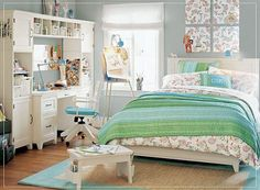 Girl's teen bedroom decorating ideas.  Gray, Blue, Green  PB style