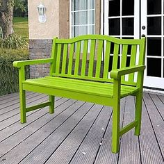 Shineco Belfort Outdoor Garden Bench in Lime Green Finish