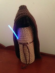 Everyone gets a bottle of wine from me this year! #crochet Obi-Wan bottle cover
