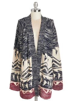 Midwestern Sky Cardigan. When a Sunday drive offers a clear blue spread overhead with this heather-navy cardi wrapped around you, you insist life couldnt get any better. #multi #modcloth