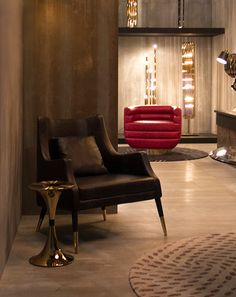 Elis armchair: while its darkness from the black leather adds a luxury touch, the inspiration behind has a much lighter touch: the notes of the Bossa Nova Swing.