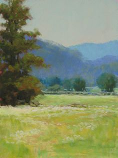 """""""Summer Pasture"""" -- A scene that always inspires me to paint it. This is at least the fifth time I have painted this view in some variation. Pastel 14"""" x 11"""" $650.00 www.marshasavage.com"""