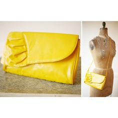 $28.00 - Vintage 1980s MUSTARD Yellow RUFFLE Leather Clutch