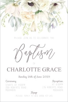 Baptism Invitation For Boys, Christening Invitations Girl, Kids Birthday Party Invitations, Girl Baptism Party, Christening Party, Baby Girl Christening, Christening Decorations, Arte Floral, Floral Invitation