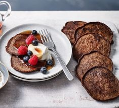 Start your morning with these indulgent chocolate pancakes. Top with cream and berries, if you like – they're also great for dessert Pancake Recipe Bbc, Pancake Cake, Bbc Good Food Recipes, Sweet Recipes, Cooking Recipes, Chocolate Chip Pancakes, Dark Chocolate Chips, Rainbow Smoothies, Low Carb Breakfast