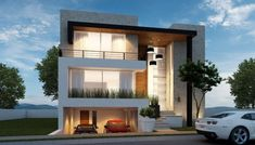 House with parking Villa Design, Modern House Plans, Modern House Design, Style At Home, Residential Architecture, Interior Architecture, Morden House, Ultra Modern Homes, Facade House