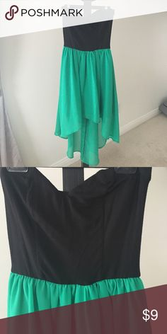 sz M green black hi low strapless dress size medium black and green high low dress with strapless sweetheart cut top Dresses High Low