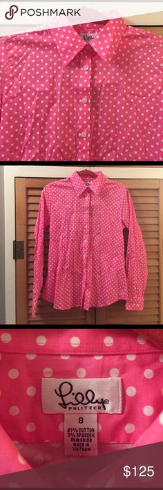 BNWT Lilly Pulitzer Nadalie Polkadot Button Down Lilly Pulitzer size 8 (stretch) button down in hibiscus pink pretty Polkadot. Could work for a size up or down depending on build. Brand new with tags. Rare Lilly Pulitzer find. Looks lovely with the sleeves rolled up over white skinny jeans with jacks! Open to offers, bundle friendly and happy to negotiate on bundle offers of any size! Have a question? Ask away✌🏻 Lilly Pulitzer Tops Button Down Shirts