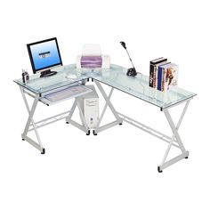 Have to have it. Techni Mobili L-Shaped Computer Desk - Glass - $130.7 @hayneedle