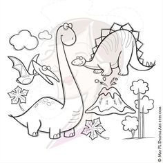 coloring pages - Pterodactyl, Stegosaurus, Brachiosaurus Clipart Dinosaur Birthday Invitation Party Hand Drawn Doodle, great for Back To School Use 10055 Dinosaur Coloring Pages, Colouring Pages, Coloring Books, Dinosaur Birthday Invitations, Animal Doodles, Flower Doodles, Doodle Flowers, Tampons, Digi Stamps