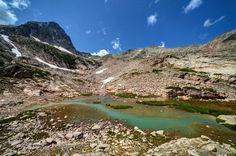 Turquoise water between Blue Lake and Upper Blue Lake.- Adventures in the Indian…