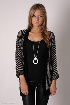 maddy knit cardi - striped cream/black