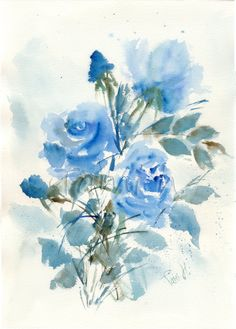Original watercolor painting of blue roses by Tami Hezroni - $ 80.00 - Etsy