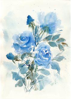 Original watercolor painting of blue roses
