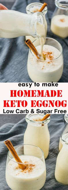 Keto Eggnog (Low Carb & Sugar Free Recipe) Keto Eggnog An easy eggnog recìpe usìng low carb and sugar free ìngredìents, and great . Low Carb Drinks, Low Carb Desserts, Low Carb Recipes, Diet Recipes, Diet Drinks, Dessert Recipes, Beverages, Diet Desserts, Diet Meals