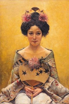 Pedro Sáenz (1864-1924), Disfraz japonesa (Japanese Costume), oil on canvas.  Artist was was a Spanish pre-Raphaelite painter, related to the Malaga school of painting. His work was full of light and elaboration of details.