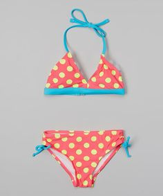 c5abd4a7cc Love this Happy Kids for Kids Hot Pink   Turquoise Polka Dot Bikini - Girls  by