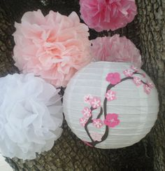 Cherry blossom paper lantern and pink and white tissue pom poms for tea party, baby shower, wedding by DellaCartaDecor on Etsy https://www.etsy.com/listing/221991522/cherry-blossom-paper-lantern-and-pink