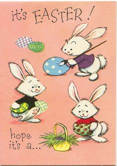 Easter Greeting Cards, Vintage Greeting Cards, Vintage Christmas Cards, Vintage Holiday, Easter Art, Hoppy Easter, Easter Ideas, Easter Bunny, Coloring Easter Eggs