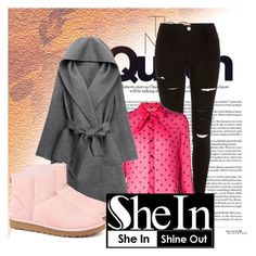 """SheIn contest"" by dinka1-749 ❤ liked on Polyvore featuring River Island, Yves Saint Laurent, WithChic and UGG Australia"