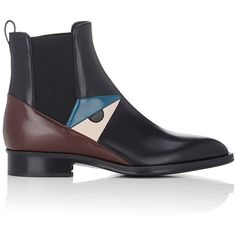 Fendi Women's Buggies-Eye Chelsea Boots (€980) ❤ liked on Polyvore featuring shoes, boots, ankle booties, ankle boots, dark grey, pointed-toe ankle boots, low heel booties, pointy-toe ankle boots, chelsea boots and short boots