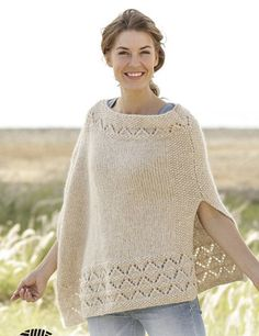 Knitting Patterns Poncho So Classy! / DROPS - Knitted DROPS Poncho in Air with lace pattern and pearl pattern. Poncho Knitting Patterns, Knit Patterns, Free Knitting, Drops Design, Knitted Poncho, Knitted Shawls, Cozy Knit, Poncho Sweater, Laine Drops