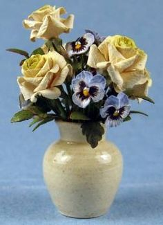 Ed Sims, IGMA Fellow - Flower arrangement - roses & pansies, Eileen Vernon - pottery vase
