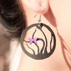 Black Orchid Earring Recycled bike inner tube jewelry by pearlreef, $18.00
