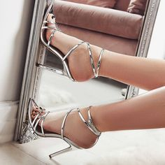 Silver Metallic Stiletto Heels Strappy Sandals For Party Summer Fashion Prom Shoes Elegant Wedding Dresses Shoes , Music Festival, Date, Big Day, Anniversary Black Stiletto Heels, Strappy High Heels, Prom Heels, Black Stilettos, Black High Heels, Sexy Heels, Silver Sandals, Lace Up Sandals, Strappy Sandals