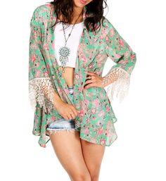 Mint Paisley Kimono