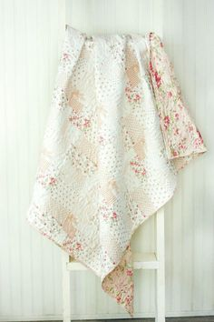 White Washed Cottage Baby Quilt - Crib Quilt - Small Lap Quilt - Whole Cloth Quilt - READY TO SHIP