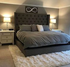 40 Newest Farmhouse Master Bedroom Design Ideas That Looks Cool Bedroom Lamps Design, Room Ideas Bedroom, Bedroom Sets, Home Decor Bedroom, Bedding Sets, Gray Bedroom, Grey Bedding, Bedroom Colors, Bedroom Designs