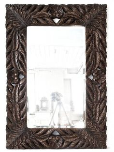 leaf design carved wooden mirror