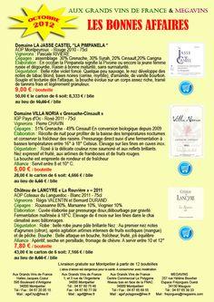 Les Bonnes Affaires des Grands Vins de France octobre 2012 sont en ligne...