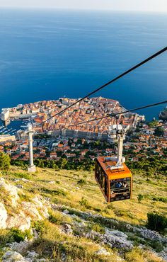 The Old Town of Dubrovnik, seen from the hills above after a cable car ride up.