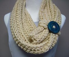 Chunky Bulky Button Crochet Cowl  Beige with by crochetcluster, LOvE this! My next project!