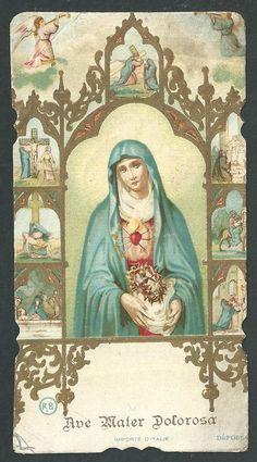 Estampa antigua Virgen Dolorosa andachtsbild santino holy card santini | eBay