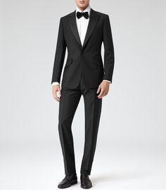 Mens Black Peak Lapel Dinner Suit - Reiss Mayfair