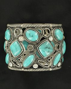 Blazin Roxx | Bracelet with Turquoise and Rhinestones |  stretch bracelet by M & F Western Products|  Silver bracelet with turquoise stones and rhinestones | Country Outfitter