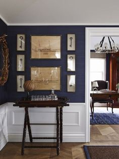 Garden, Home and Party– LOVE this navy wall color against all of that white trim!