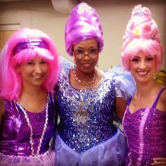 I am dressed as Fairy Godmother for Shrek the Musical! Tooth Fairy on the left and Sugar Plum Fairy on the right.