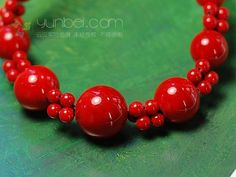 Coral bead necklace (Red)