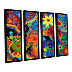 Bluebird Of Happiness by Marina Petro 4 Piece Floater Framed Painting Print on Canvas Set